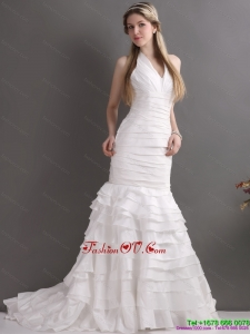 Cheap White Halter Top Bridal Gowns with Ruffled Layers and Ruching