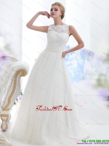 Cheap White High Neck Laced Wedding Dresses with Brush Train