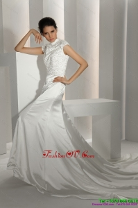 Cheap White High Neck Wedding Dresses with Cathedral Train and Beading