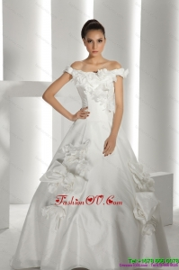 Cheap White Off Shoulder Bridal Dresses with Cathedral Train and Hand Made Flowers