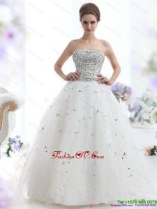 Cheap White Strapless 2015 Wedding Dresses with Rhinestones