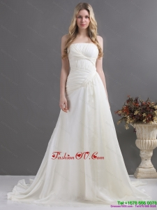 Cheap White Strapless Ruching Wedding Dresses with Brush Train