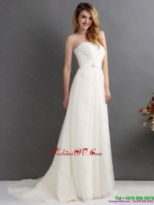 Cheap White Strapless Wedding Dresses with Brush Train and Sash