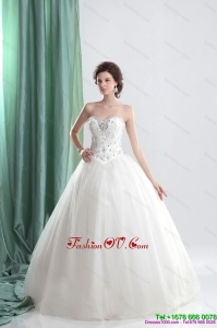 Cheap White Sweetheart Bridal Gowns with Ruffles and Beading