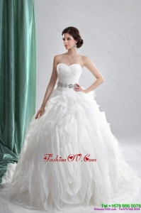 Cheap White Sweetheart Ruching Wedding Dresses with Brush Train and Beading