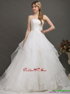 Cheap White Wedding Dresses with Brush Train and Sash