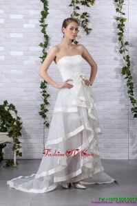Cheap and Detachable White Strapless Wedding Dresses with Brush Train and Bowknot