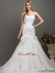 Decent Sweetheart Ruching Wedding Dress with Brush Train for 2015