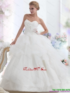 Dynamic 2015 Sweetheart Wedding Dress with Hand Made Flowers