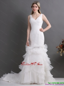 Luxurious V Neck 2015 Wedding Dress with Ruching and Ruffles