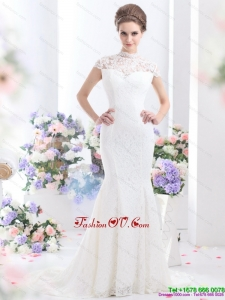 2015 Cheap High Neck Wedding Dress with Mermaid