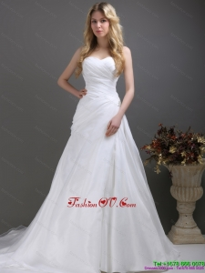 2015 Cheap Ruching and Beading Wedding Dress