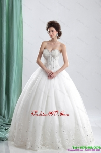 Cheap 2015 Sweetheart Wedding Dress with Beading and Lace