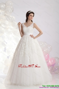 2015 Cheap A Line Lace Wedding Dress with Floor Length