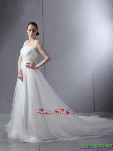 2015 Cheap Strapless A Line Wedding Dress with Lace and Ruching