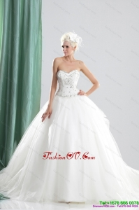 2015 Cheap Sweetheart Beading Wedding Dress with Brush Train