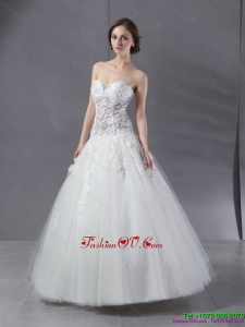 2015 Cheap Sweetheart Lace Wedding Dress with Floor Length