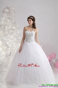 2015 Cheap Sweetheart Wedding Dress with Beading