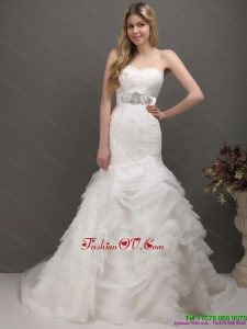 2015 Cheap Sweetheart Wedding Dress with Lace and Appliques