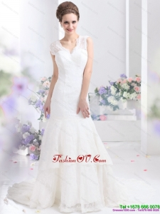 2015 Gorgeous Lace White Wedding Dresses with Brush Train