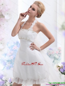 Cheap Halter Top Laced Beach Wedding Dresses in White