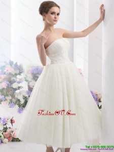 Cute White Strapless Beach Wedding Dresses with Ruching
