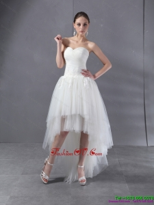 High Low White Sweetheart Beach Wedding Dresses with Ruching and Appliques
