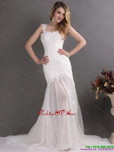 Laced White One Shoulder Wedding Gowns with Chapel Train