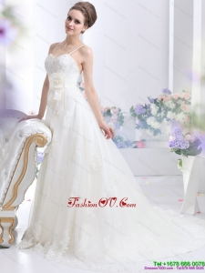 Perfect Sequines White Bridal Gowns with Hand Made Flower