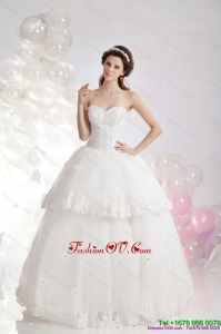 Popular Sweetheart Ruffles and Beading Bridal Gowns in White