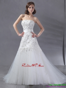 Popular White Strapless Beach Wedding Dresses with Sequins and Brush Train