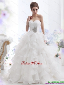 Pretty Beading and Ruffled Layers Brush Train Beach Wedding Dresses in White