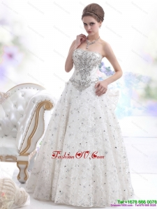 Pretty Strapless Bownot White Wedding Dresses with Rhinestones