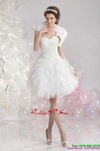 Pretty White Sweetheart Beach Wedding Gowns with Ruffles and Sequins