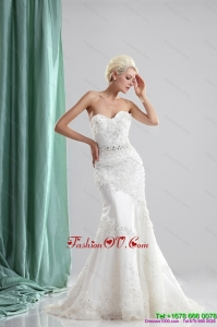 Pretty White Sweetheart Wedding Dresses with Sequins and Brush Train