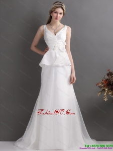 Ruching White V Neck Ruffled 2015 Beach Wedding Dresses with Brush Train