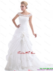 Ruffled White Wedding Dresses with Brush Train and Hand Made Flower