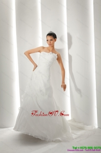 Unique Brush Train Ruching White Beach Wedding Dresses with Appliques