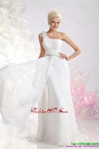 White One Shoulder Beach Wedding Dresses with Ruching and Beading
