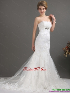 White Strapless Lace Wedding Dresses with Beading and Brush Train