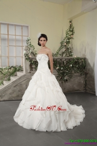 White Strapless Ruffled Beach Wedding Dresses with Chapel Train and Beading