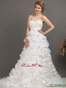White Sweep Train Ruffled Beach Wedding Dresses with Beading