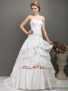 White Sweetheart Brush Train Wedding Dresses with Ruffled Layers
