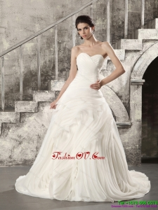 White Sweetheart Ruching Beach Wedding Dresses with Brush Train