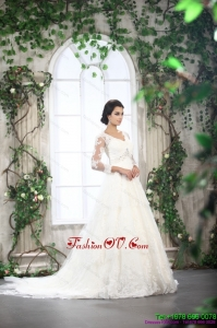 White V Neck Lace Wedding Dresses with Brush Train and Beading