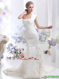 2015 Beautiful Strapless Lace White Wedding Mermaid Dress