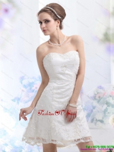 2015 Classical Sweetheart Mini Length Wedding Dress with Lace
