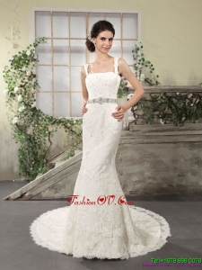 2015 Flirting Lace Straps Wedding Dresses with Court Train