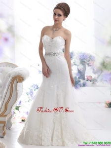 2015 Modest Sweetheart Paillette Wedding Dress with Floor Length