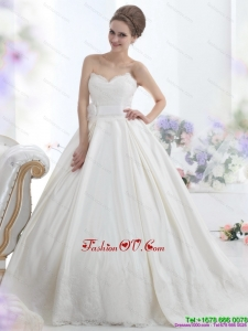 2015 Modest Sweetheart Wedding Dress with Lace and Sashes